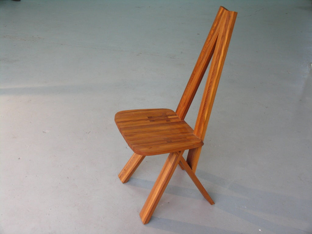 French High Back Chair by Pierre Chapo For Sale