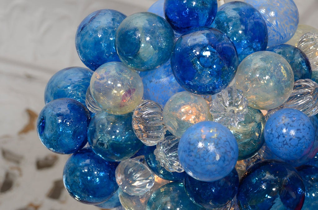 Small Glass Bubble Chandelier With Handblown Bubbles In