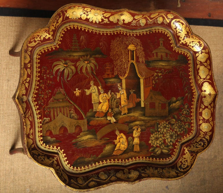 Wood Very Fine red papier mache chinoiserie tray on stand, c.1840 For Sale