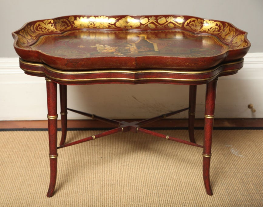 19th Century Very Fine red papier mache chinoiserie tray on stand, c.1840 For Sale