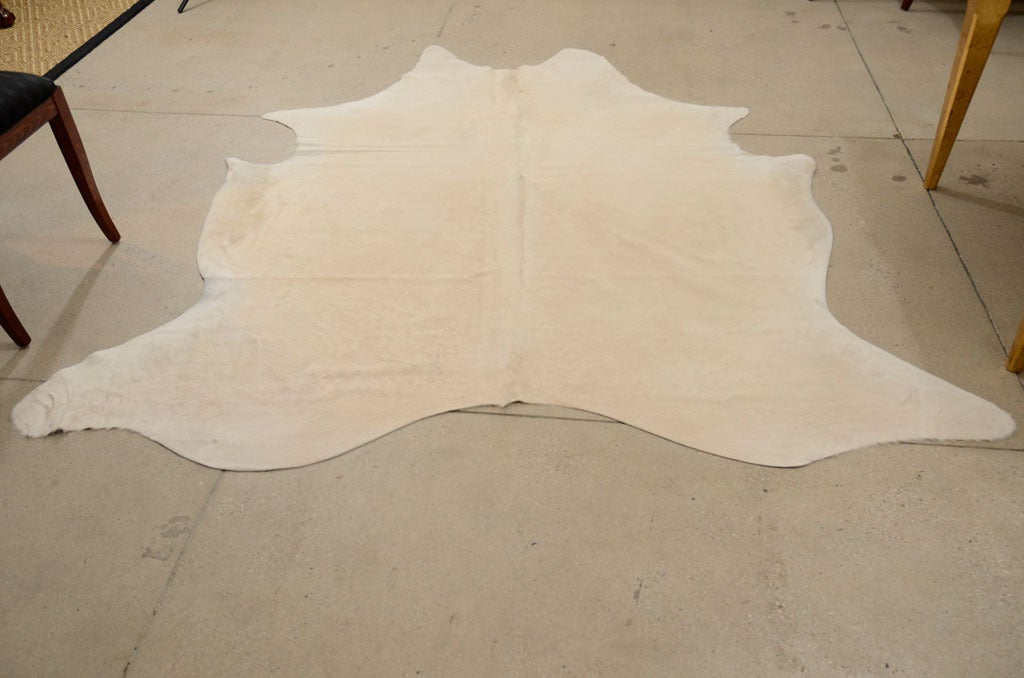 Rare All Natural White Cowhide Rug 7