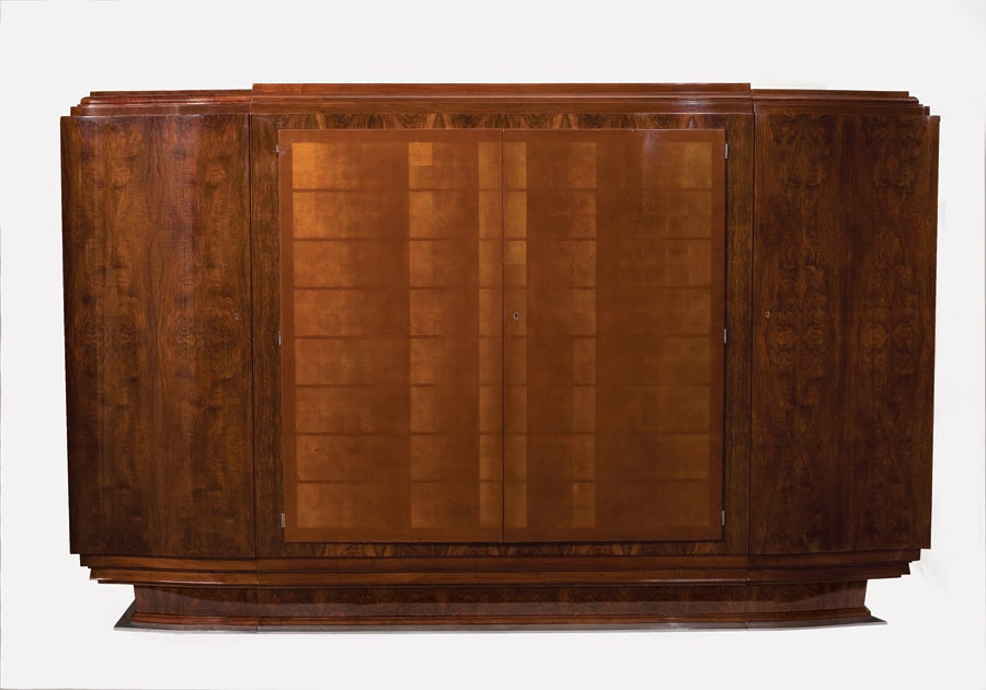 Unique and important Art Deco four-door cabinet in walnut with lacquered doors and nickel-plated details.  Lacquer work by Katsu Hamanaka (1895-1982).  Provenance: This cabinet was specially designed for Mr. & Mrs Goy and the Salon des Artistes