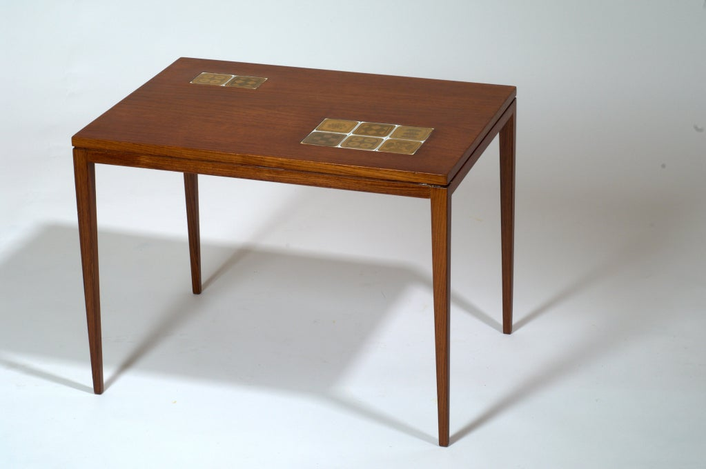 Wiinblad Tiles: Rosewood Table By Rosenthal With Porcelain Tiles By Bjorn