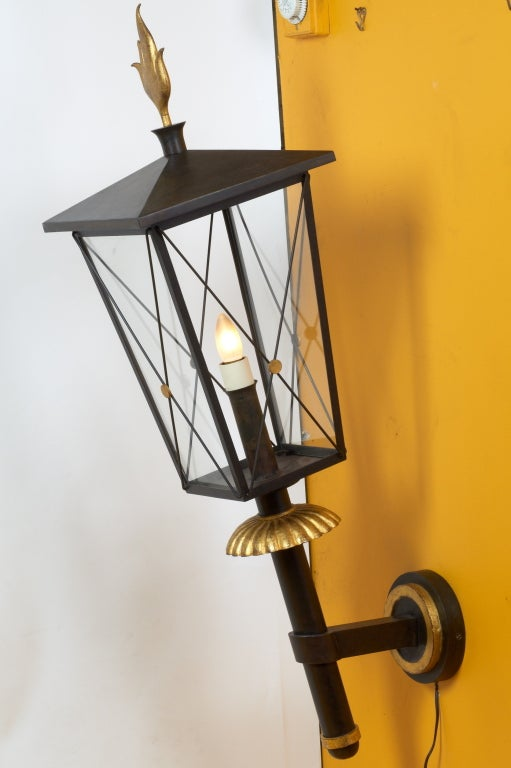 Mid-Century Modern Important Pair of 1950s Wrought Iron Sconces by Gilbert Poillerat For Sale