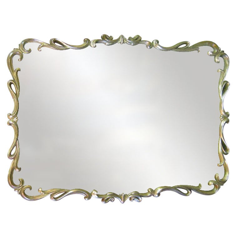 White gold hollywood mirror at 1stdibs for White and gold mirror