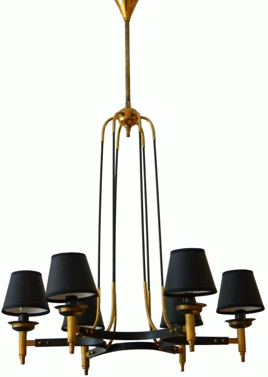 Two patinas brass six bulbs Maison Jansen ceiling fixture.