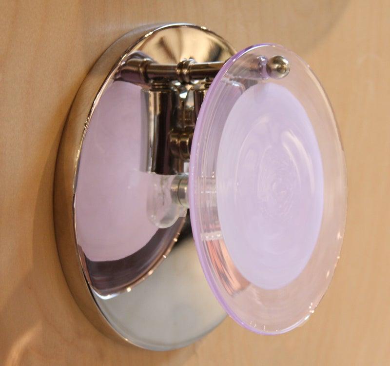Single Vistosi Murano pink glass and nickel wall sconces at 1stdibs