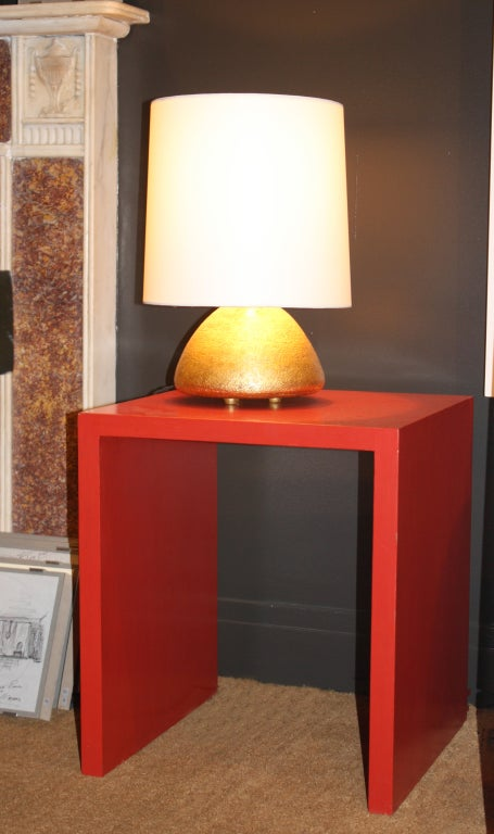 Contemporary Pair of Gilded Ceramic Gumdrop Lamps by Andrea Koeppel For Sale