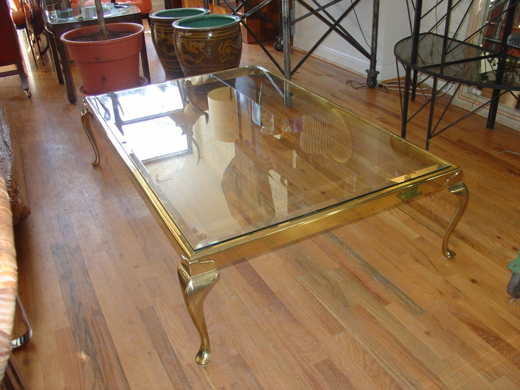 An exceptionally large brass and glass coffee table at 1stdibs for Large glass coffee table