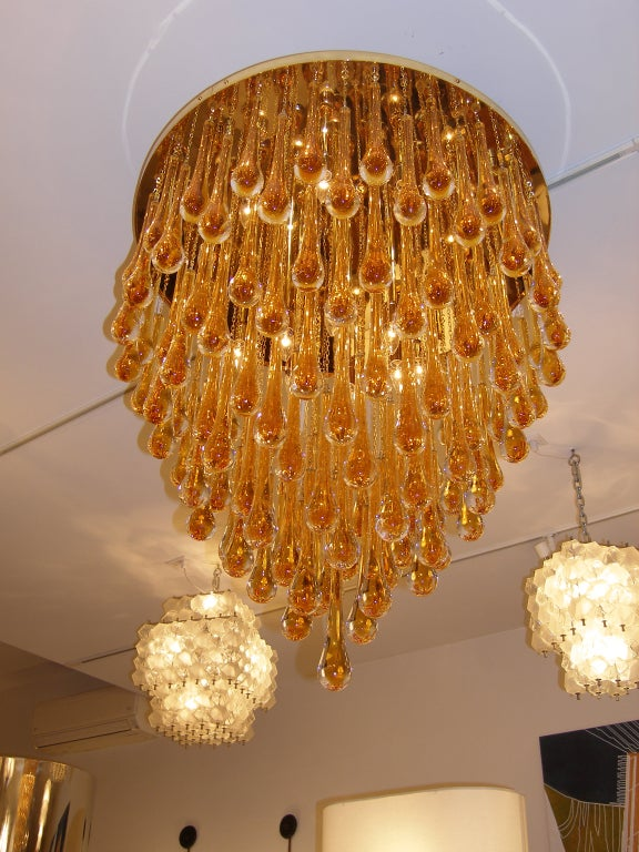 Italian Barovier & Toso Large Amber Glass Teardrop Chandelier For Sale