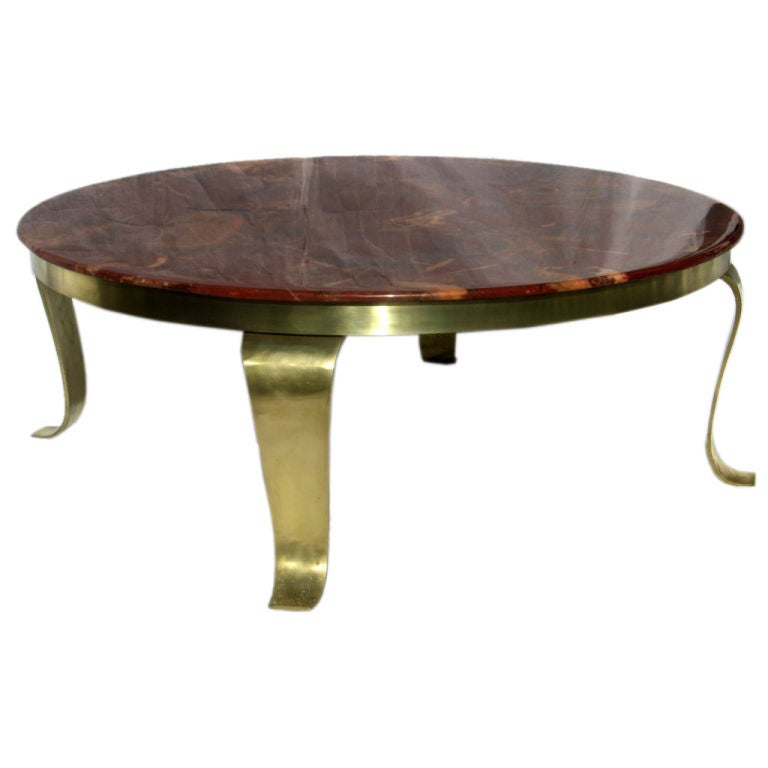 Paloma Mosaic Coffee Table: Red Onyx Cocktail Table Polished Brass Base 1960's At 1stdibs