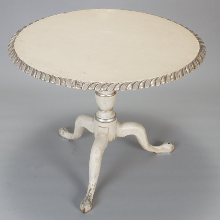 French White Tilt Top Table with Silver Gilt Edge 5