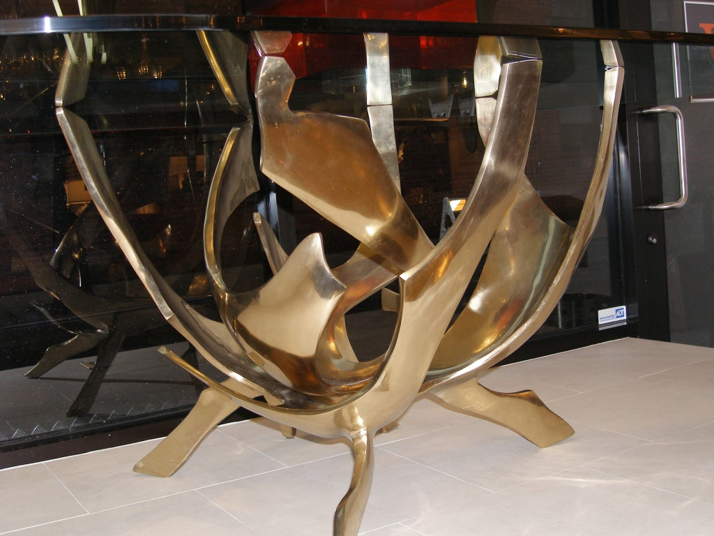 Signed Fred Brouard Abstract Bronze Dining Table Base 4