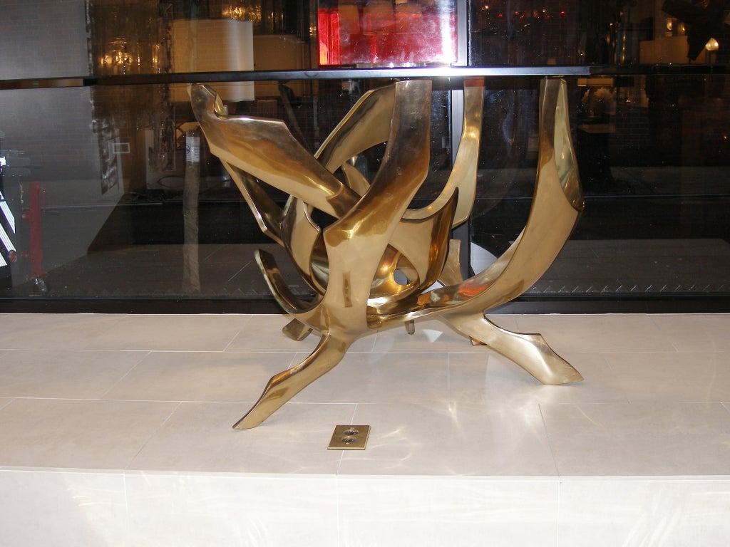 Signed Fred Brouard Abstract Bronze Dining Table Base 7