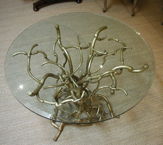 Iron Candace Barnes Now Hand-Forged Bronze Napa Branch Table in Gold Leaf For Sale