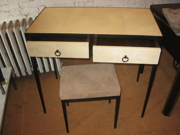 Mid-Century Modern French Mid-Century Style Parchment Covered Vanity/ Desk, Jean-Michel Frank Style For Sale