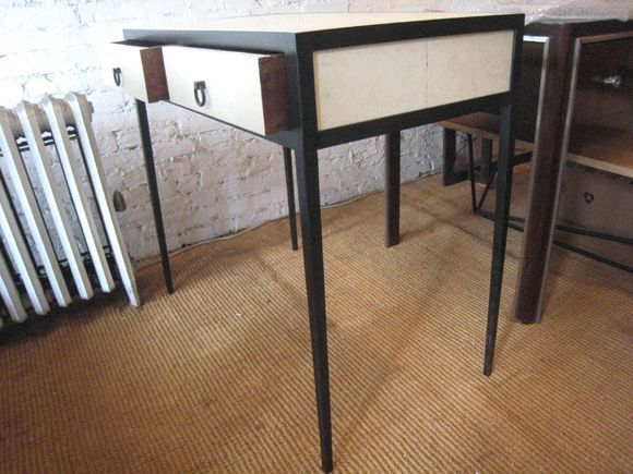 20th Century French Mid-Century Style Parchment Covered Vanity/ Desk, Jean-Michel Frank Style For Sale