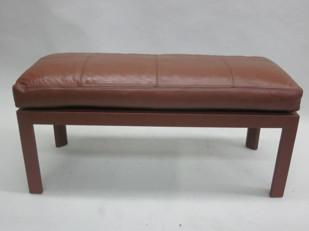 French Mid Century Leather Covered Bench In The Style Of Pierre Lottier