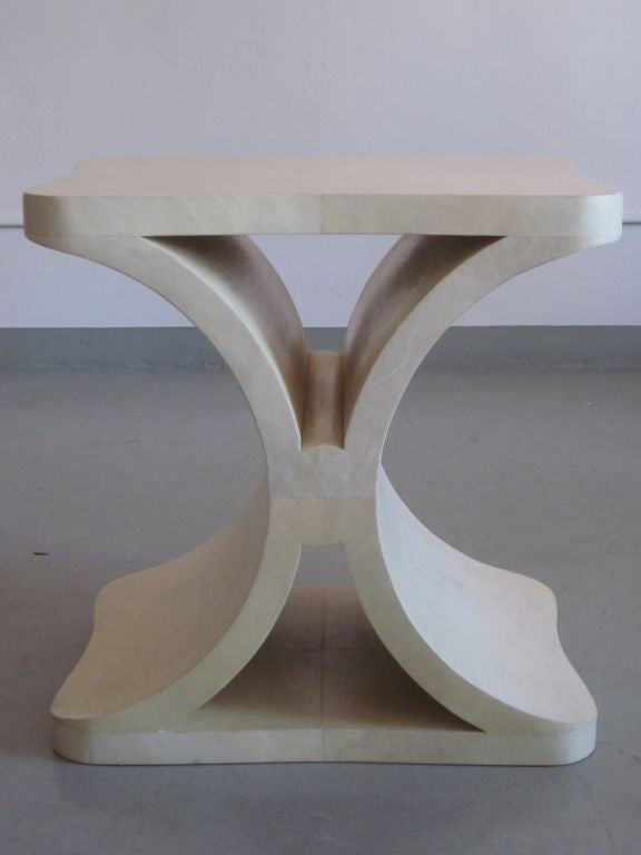 French Modern Neoclassical Parchment End or Side Table, Jean-Michel Frank In Good Condition For Sale In New York, NY