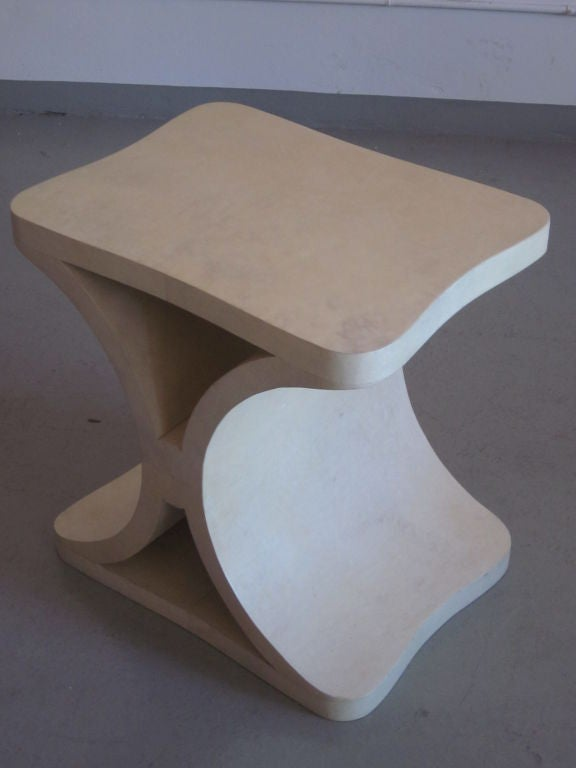 20th Century French Modern Neoclassical Parchment End or Side Table, Jean-Michel Frank For Sale