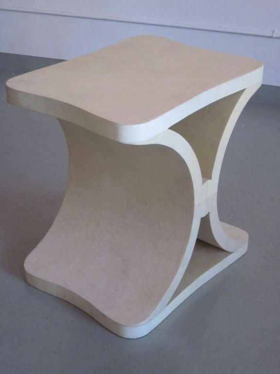 Parchment Paper French Modern Neoclassical Parchment End or Side Table, Jean-Michel Frank For Sale