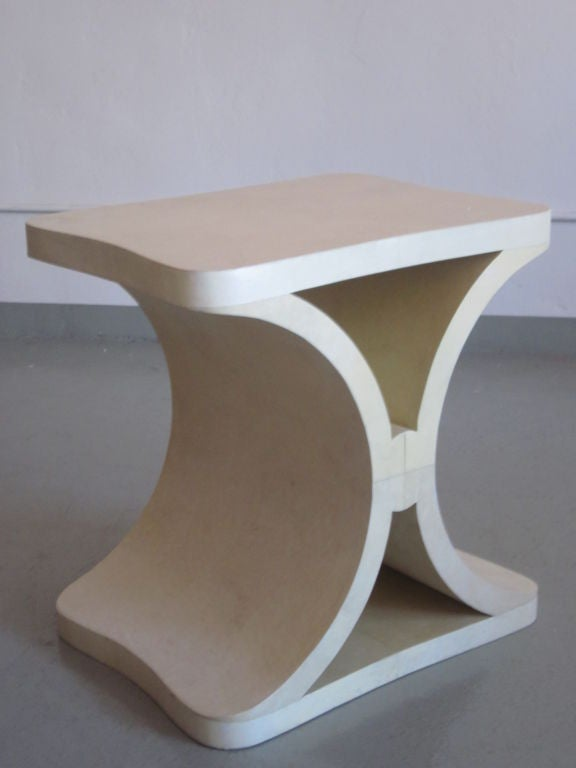 French Modern Neoclassical Parchment End or Side Table, Jean-Michel Frank For Sale 1