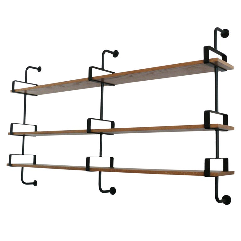 French Iron and Oak Wall Shelves 10
