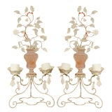 Pair of Metal, Glass and Rock Crystal 2-Light Candelabra