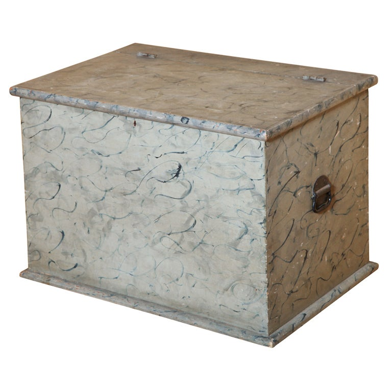 Paint Decorated Blanket Box.
