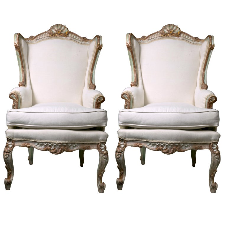 Pair of painted french rococo style bergere chairs at 1stdibs for French rococo style
