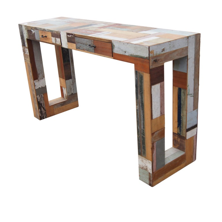 Pair of Patchwork Wooden Lounge Chairs 5
