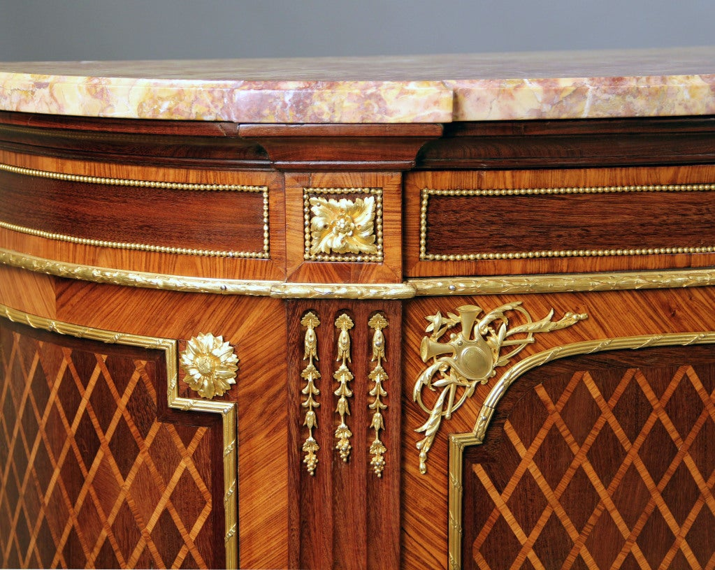 Belle Époque Wonderful Pair of Late 19th Century Gilt Bronze Mounted Parquetry Cabinets For Sale