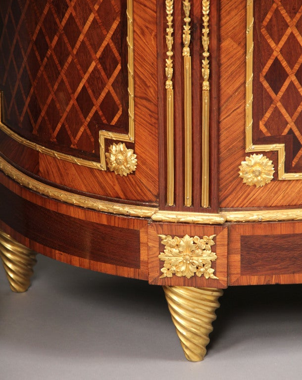 French Wonderful Pair of Late 19th Century Gilt Bronze Mounted Parquetry Cabinets For Sale