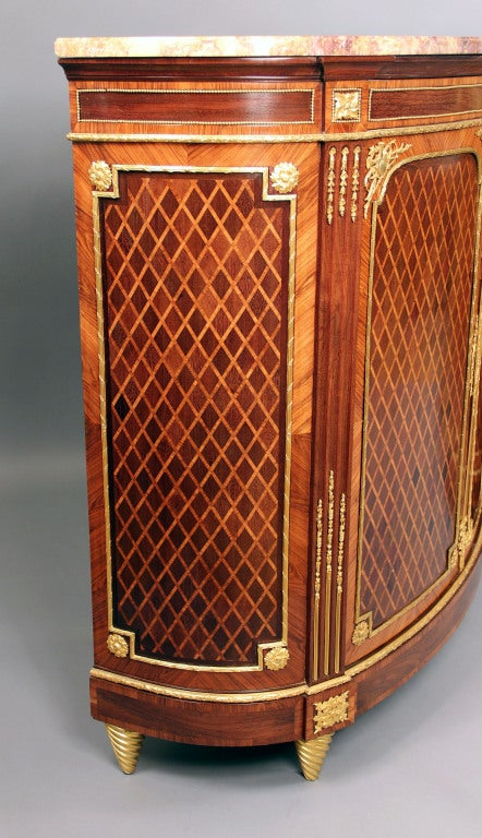 Wonderful Pair of Late 19th Century Gilt Bronze Mounted Parquetry Cabinets For Sale 1
