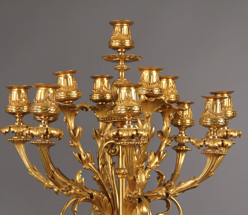 Pair of Late 19th Century French 13-Light Candelabra In Good Condition For Sale In New York, NY