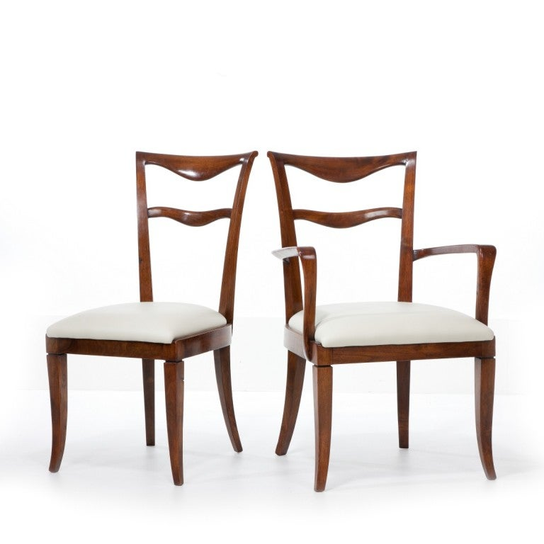 Italian Set of Six Dining Chairs and Two Carvers by Maurizio Tempestini For Sale