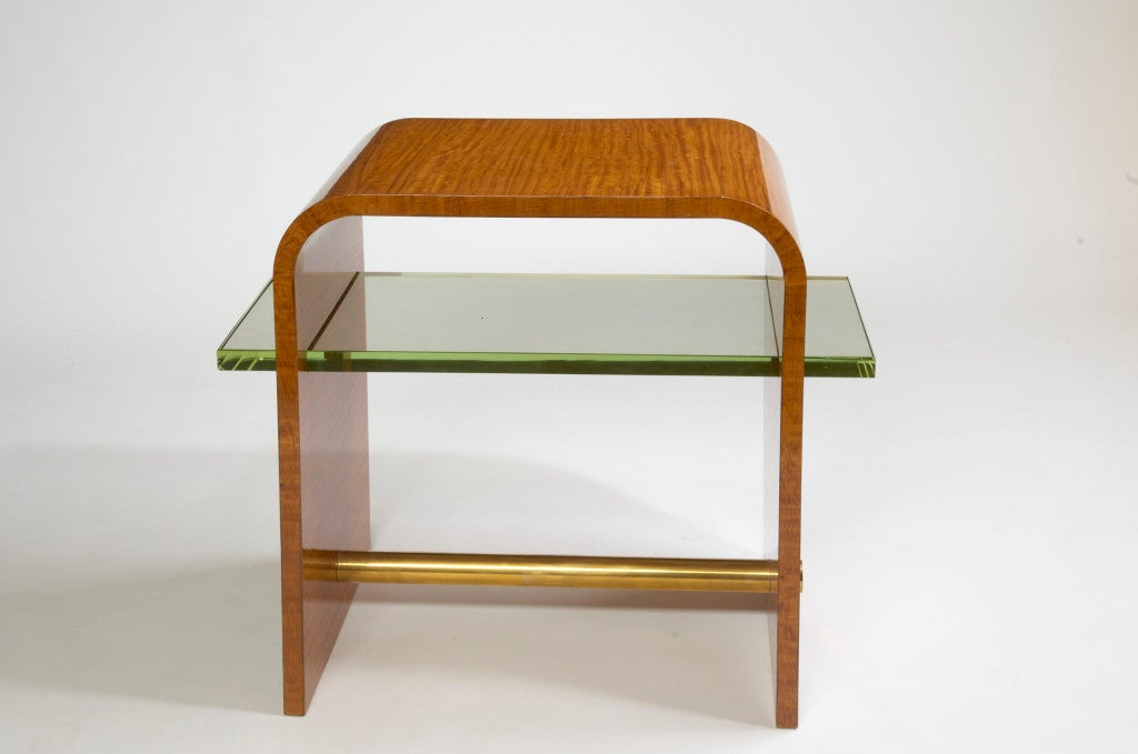 Mid-Century Modern Jacques Adnet 1930s Side Table with Glass Shelf For Sale