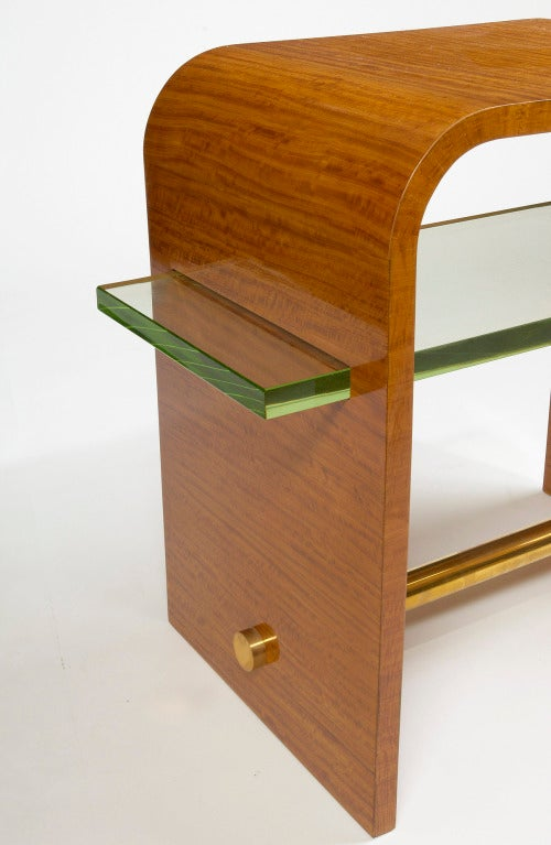 French Jacques Adnet 1930s Side Table with Glass Shelf For Sale