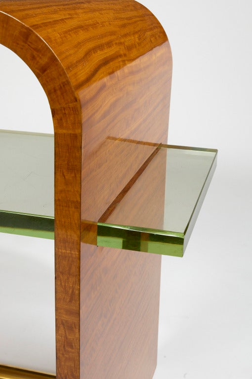 Jacques Adnet 1930s Side Table with Glass Shelf In Excellent Condition For Sale In New York, NY