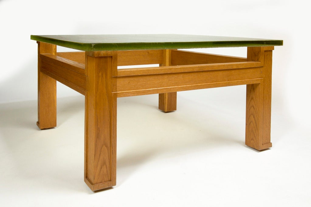 Mid-Century Modern Modernist Oak and Sand Cast Glass Table Attributed to Adnet, circa 1950 For Sale