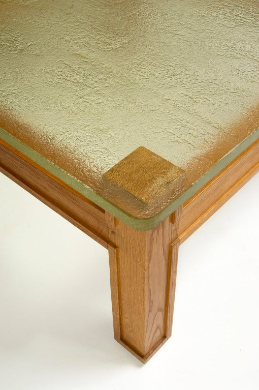 French Modernist Oak and Sand Cast Glass Table Attributed to Adnet, circa 1950 For Sale