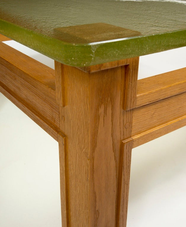 Modernist Oak and Sand Cast Glass Table Attributed to Adnet, circa 1950 In Good Condition For Sale In New York, NY