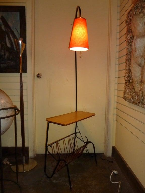 french 50s floor lamp side table magazine rack at 1stdibs. Black Bedroom Furniture Sets. Home Design Ideas