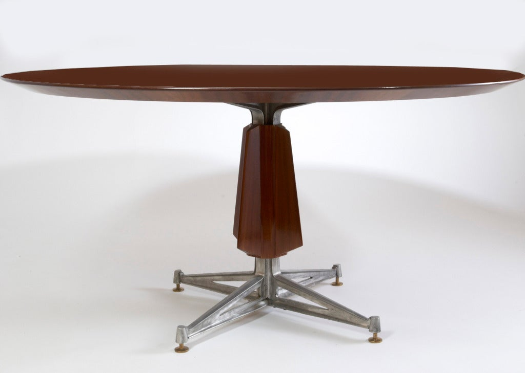 French Sculptural Pedestal Mahogany Table with Cast Aluminium Base, 1950s For Sale