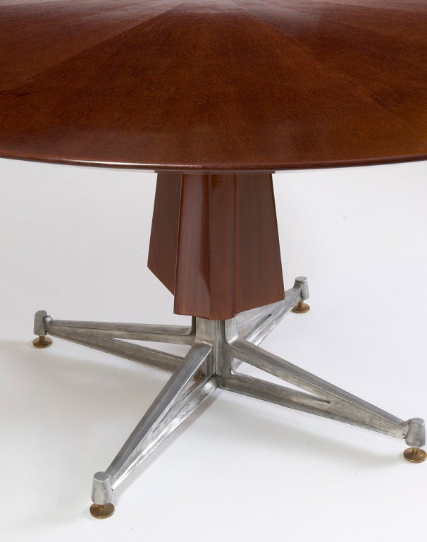 Sculptural Pedestal Mahogany Table with Cast Aluminium Base, 1950s For Sale 1