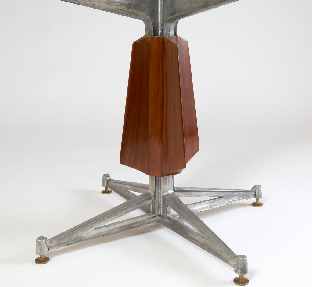 Sculptural Pedestal Mahogany Table with Cast Aluminium Base, 1950s For Sale 3