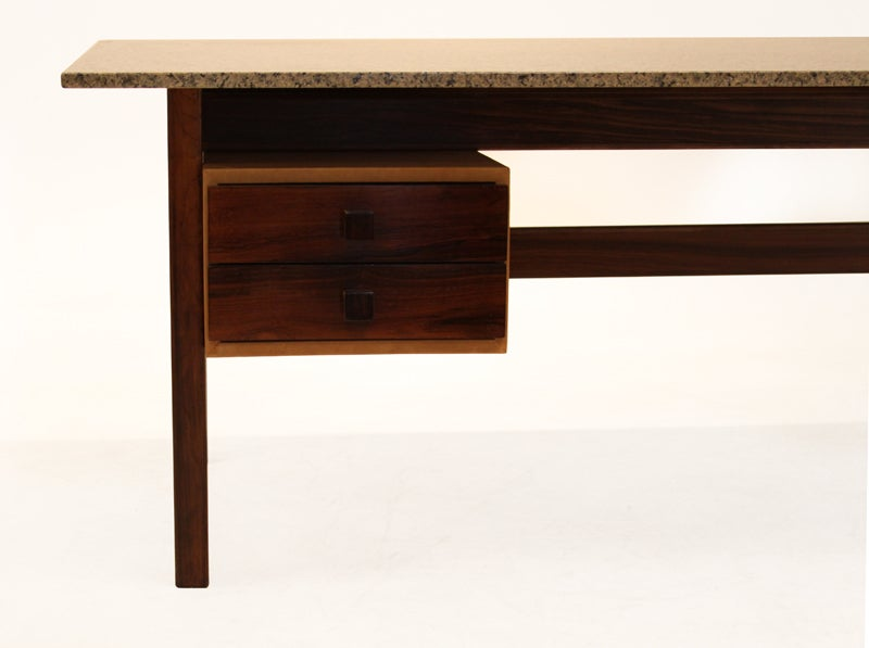 Rosewood Sergio Rodrigues Desk With Leather Cased Drawers