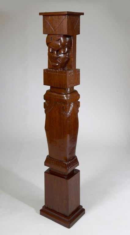 French Africanist Palmwood Pedestal by Charles Combes For Sale