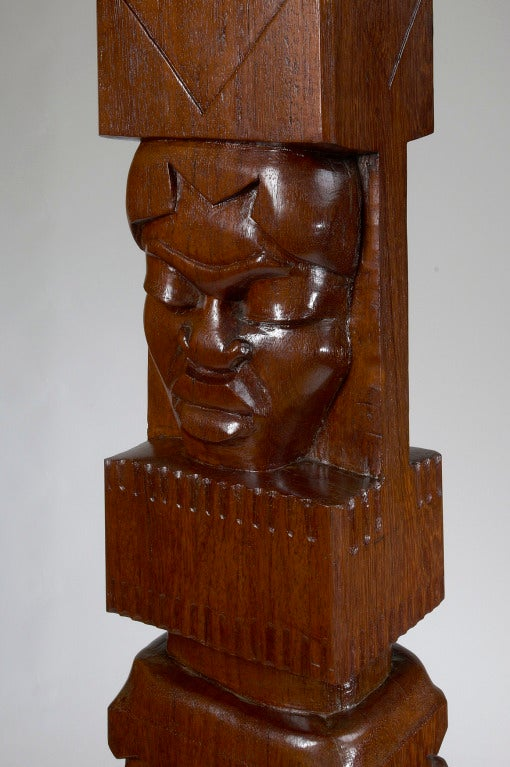 Africanist Palmwood Pedestal by Charles Combes In Excellent Condition For Sale In New York, NY