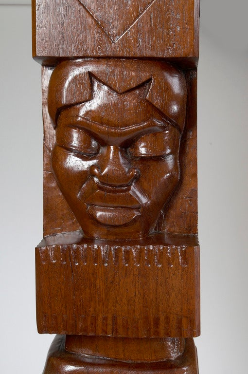 Africanist Palmwood Pedestal by Charles Combes For Sale 2
